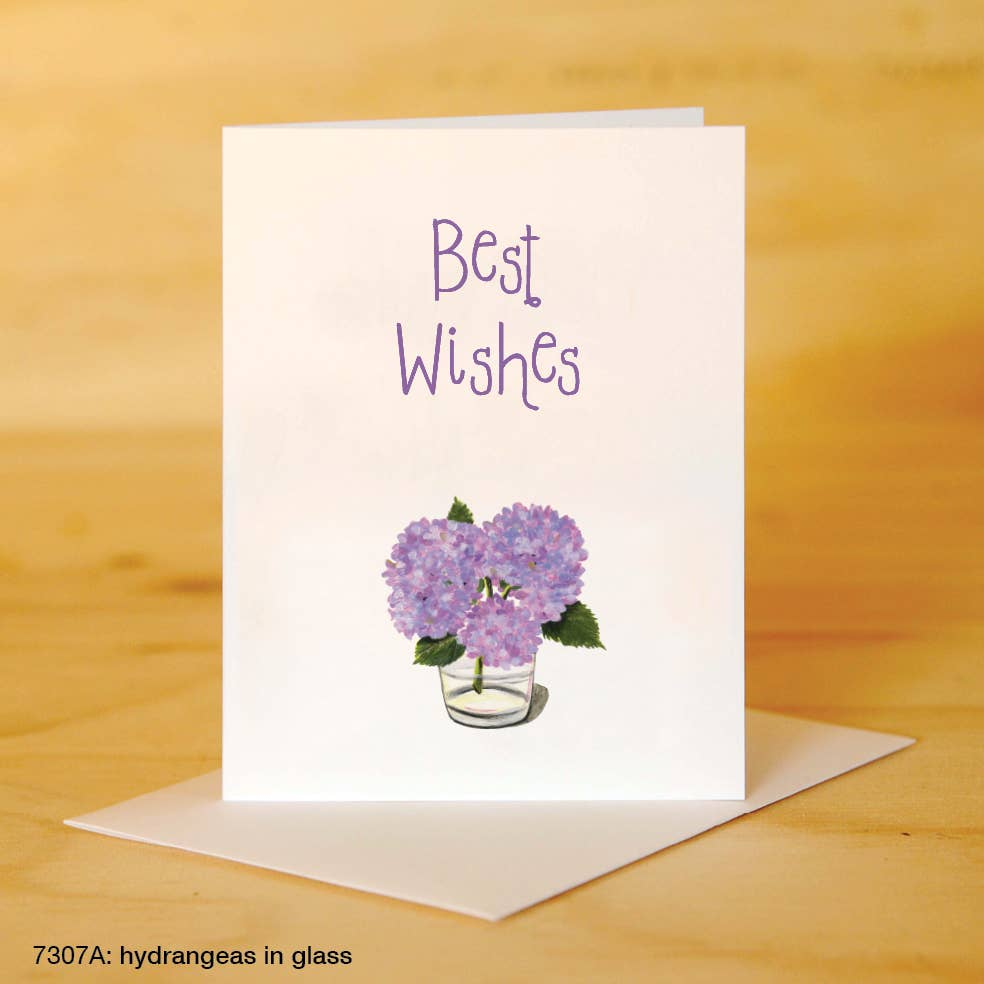Printed Canvas - Greeting Card - Best Wishes - Hydrangeas