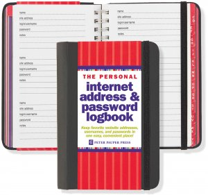 Peter Pauper - Address Book - Personal Internet Address & Password Logbook - Black
