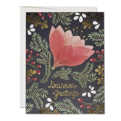Red Cap Cards - Greeting Card - Holiday - Seasons Greetings - Floral