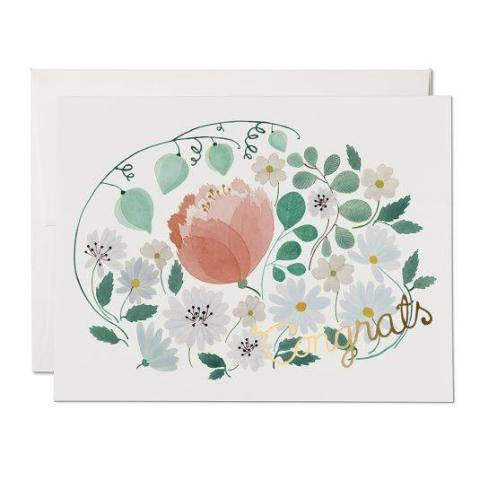 Red Cap Cards - Greeting Card - Congrats - Soft Floral