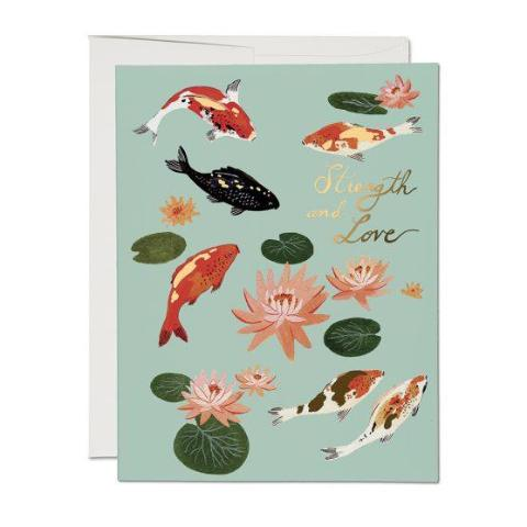 Red Cap Cards - Greeting Card - Strength And Love - Koi Pond