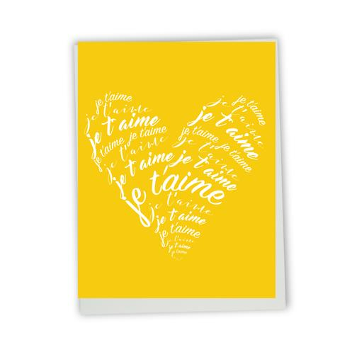 Lili Graffiti - Greeting Card - Je T'aime - Lettered Heart