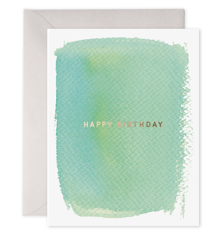 E Frances - Greeting Card - Happy Birthday - Green Watercolour