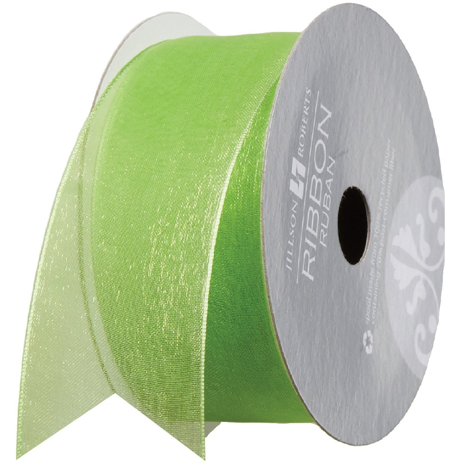 "Jillson & Roberts - Ribbon - 1 1/2"" - Sheer - Lime Green"