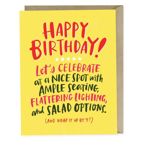 Emily McDowell - Greeting Card - Happy Birthday - Let's Celebrate At A Nice Spot With Ample Lighting