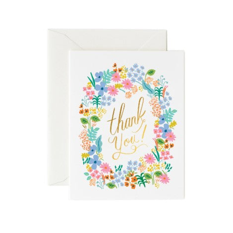 Rifle Paper Co. - Greeting Card - Thank You - Prairie Floral Wreath