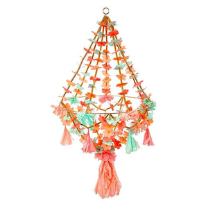Neon & Gold Fabric Chandelier