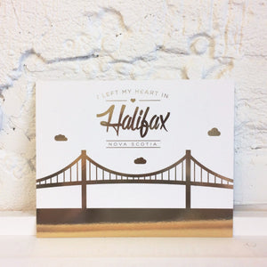 "Paper Hearts - Art Print - ""I Left My Heart In Halifax"" - Gold Foil"