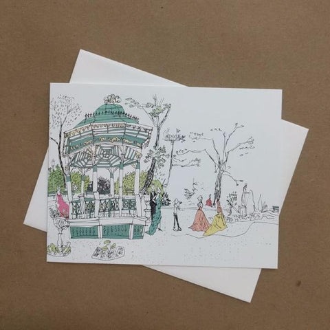 Emma Fitzgerald - Greeting Card - Public Gardens - Bandstand and Prom
