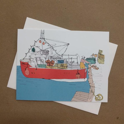 Emma Fitzgerald - Greeting Card - Red Fishing Boat