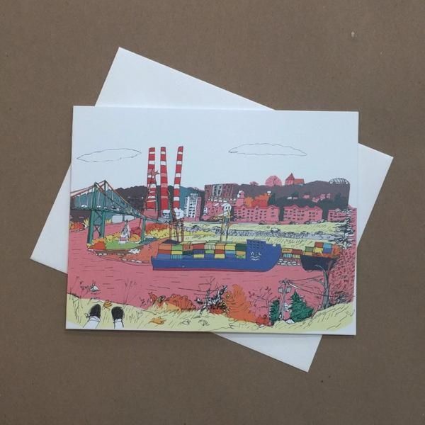 Emma Fitzgerald - Greeting Card - Halifax Waterfront - Smokestacks