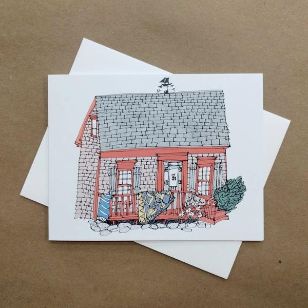 Emma Fitzgerald - Greeting Card - Red House with a Dusty Rug