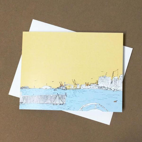 Emma Fitzgerald - Greeting Card - Halifax Waterfront - Yellow Sky