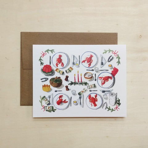 Kat Frick Miller - Greeting Card - Christmas Lobster Dinner