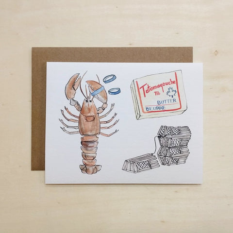 Kat Frick Miller - Greeting Card - Lobster Dinner