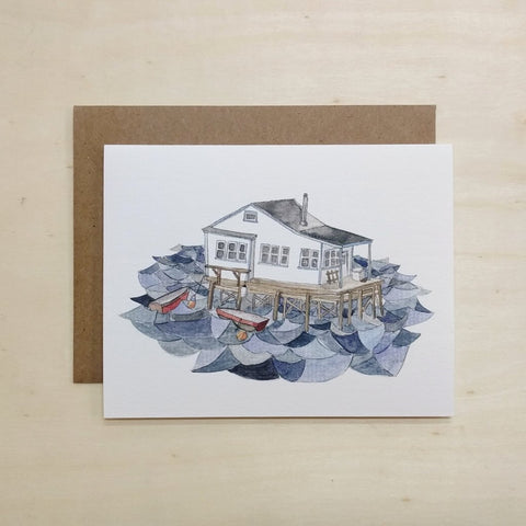 Kat Frick Miller - Greeting Card - House On The Water