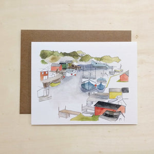 Kat Frick Miller - Greeting Card - Boats On Trout River