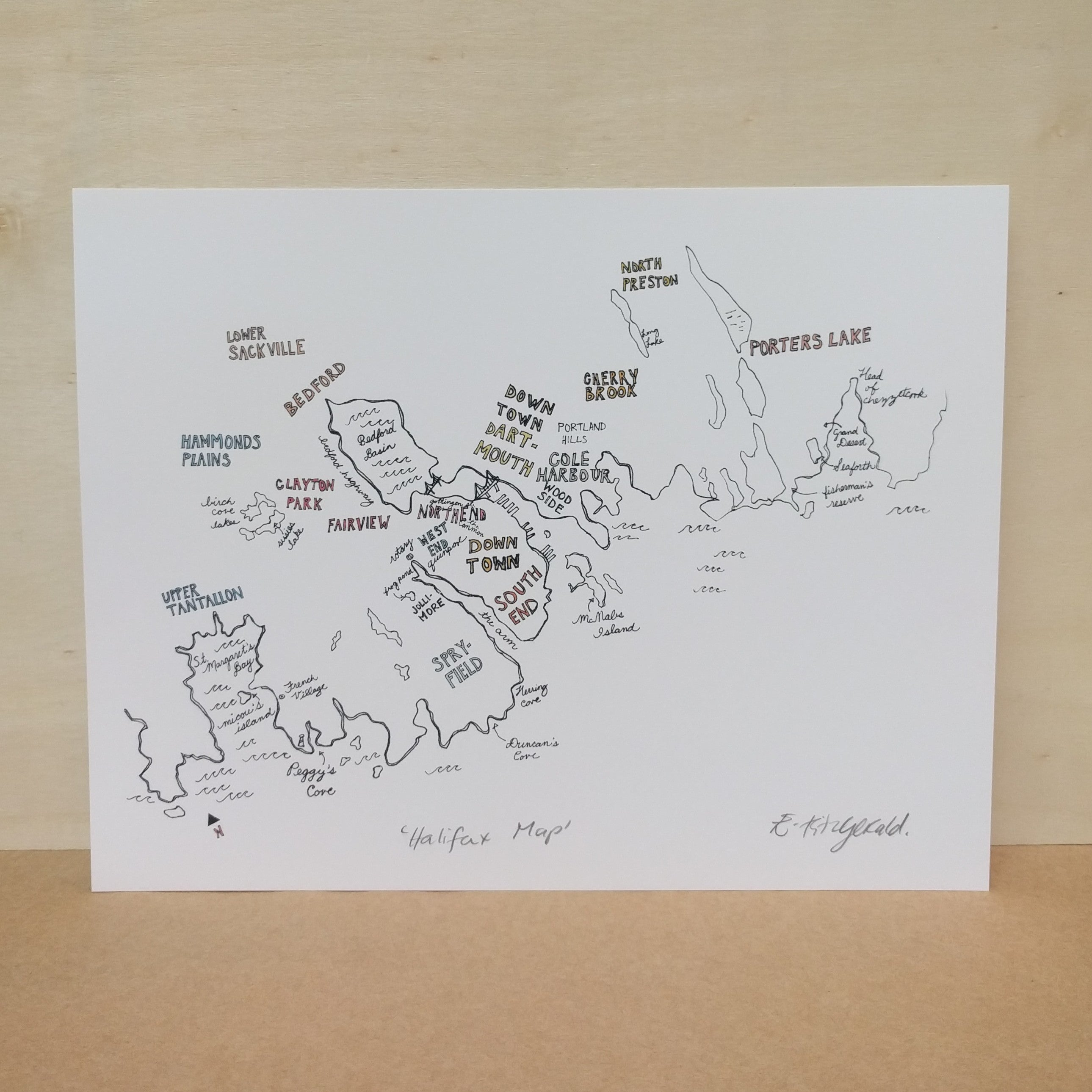 "Emma Fitzgerald - Art Print - ""Halifax Map"""