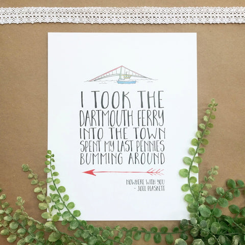 Jill + Jack Paper - Art Print - Joel Plaskett Lyrics