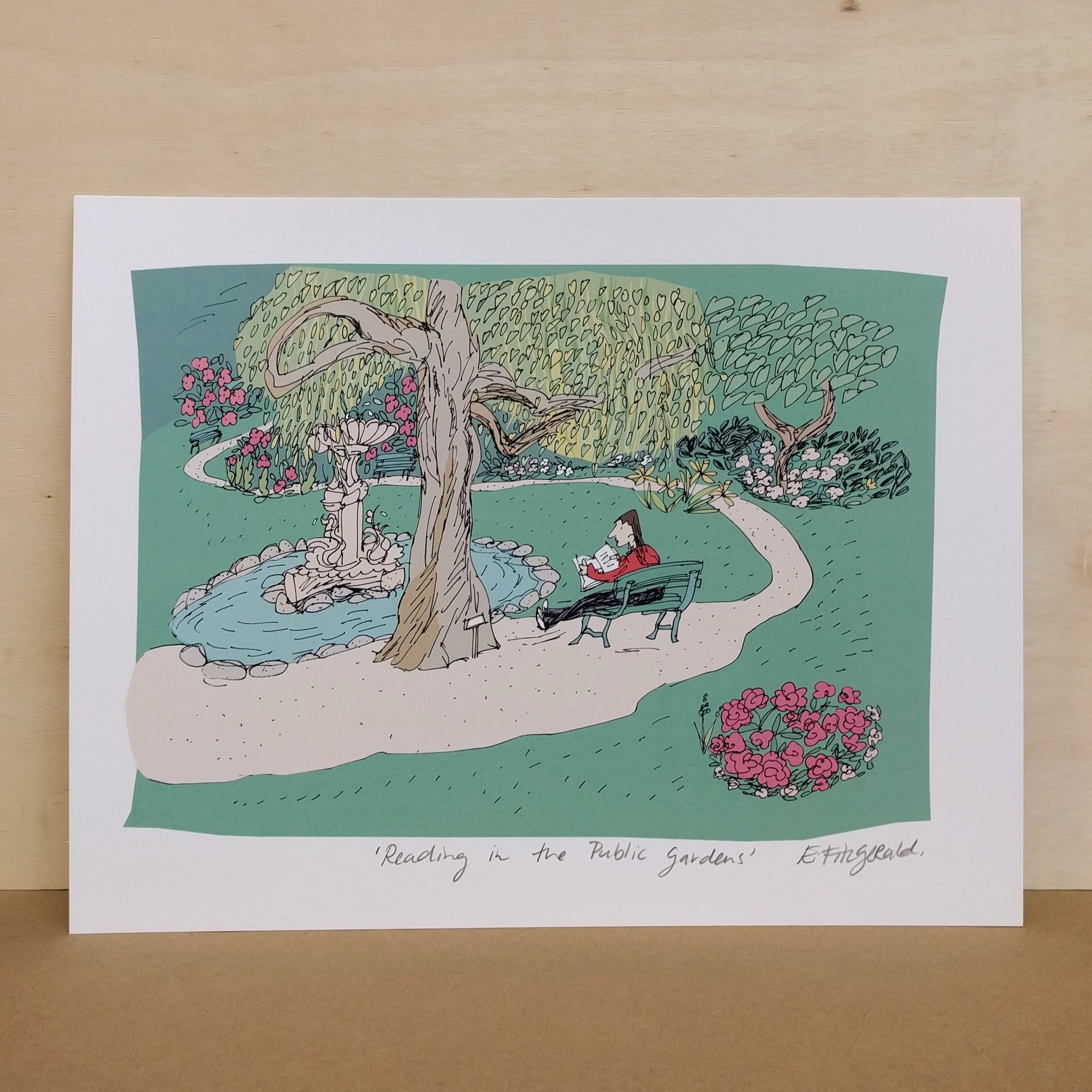 "Emma Fitzgerald - Art Print - ""Reading in the Public Gardens"""