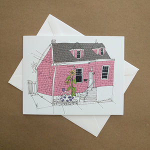 Emma Fitzgerald - Greeting Card - Pink House - Sunflower