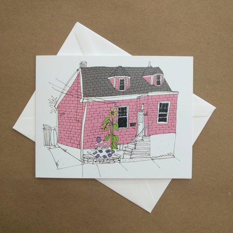 Emma Fitzgerald - Greeting Card - Pink House