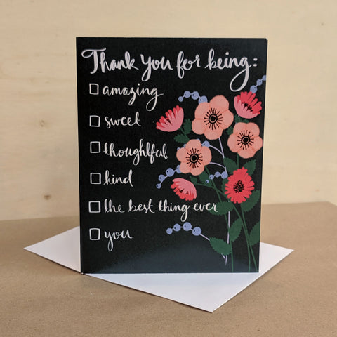 Meaghan Smith Creative - Greeting Card - Thank You For Being - Checklist