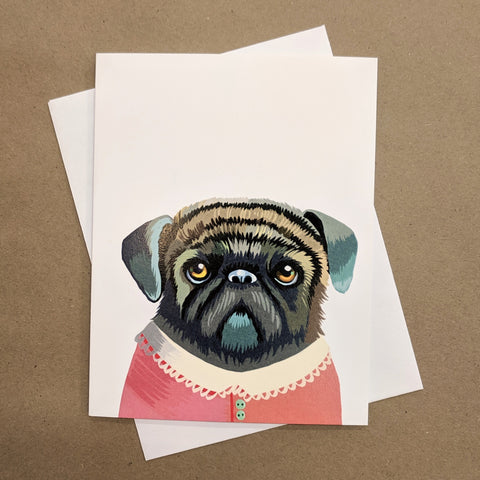 Meaghan Smith Creative - Greeting Card - Pug In A Sweater
