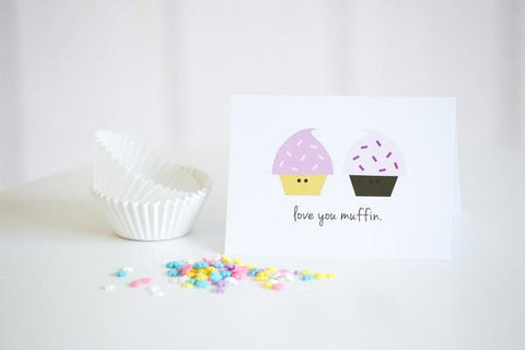 Paper Hearts - Greeting Card - Love You Muffin