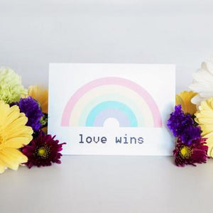 Paper Hearts - Greeting Card - Love Wins - Pride