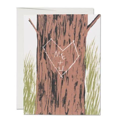 Red Cap Cards - Greeting Card - Me + U - Tree Carving