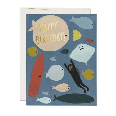 Red Cap Cards - Greeting Card - Happy Birthday - Scuba