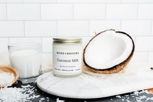 Moss + Brooke - Candle - 7oz Frosted Glass Jar - Coconut Milk
