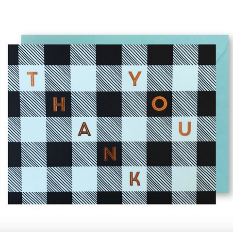 J Falkner - Greeting Card - Thank You - Blue Gingham