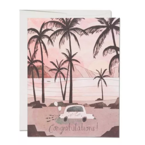 Red Cap Cards - Greeting Card - Congratulations - Car with Cans