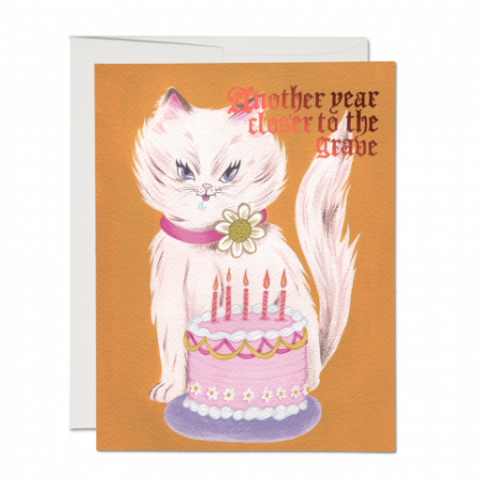 Red Cap Cards - Greeting Card - Another Year Closer To The Grave - Cat and Cake
