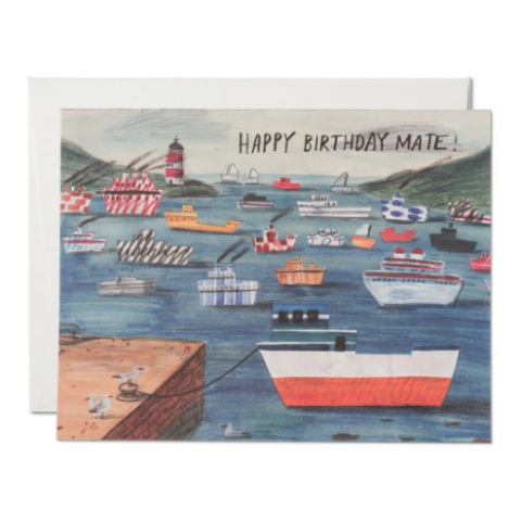 Red Cap Cards - Greeting Card - Happy Birthday Mate - Ships in Harbor
