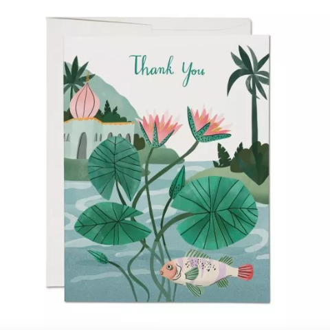Red Cap Cards - Greeting Card -Thank You - Fish Pond