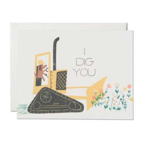 Red Cap Cards - Greeting Card - I Dig You - Dog in Truck