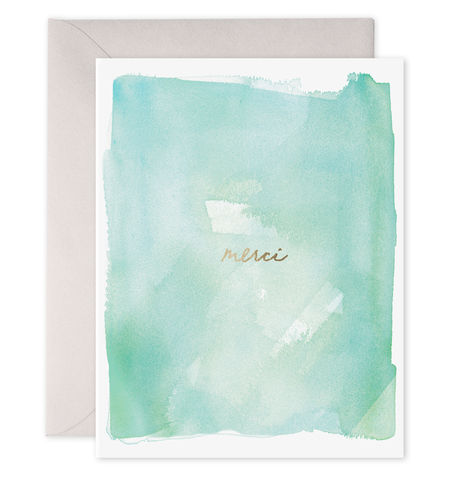 E Frances - Boxed Notes - Merci - Green Watercolour