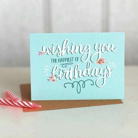 Paper Hearts - Greeting Card - Wishing You The Happiest Of Birthdays