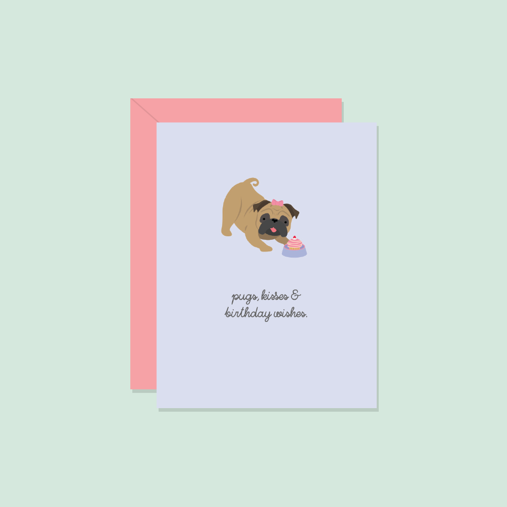 Paper Hearts - Greeting Card - Pugs, Kisses & Birthday Wishes