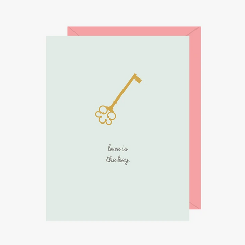 Paper Hearts - Greeting Card - Love Is The Key - Skeleton Key