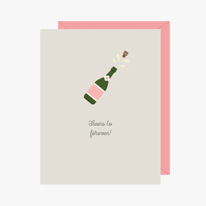 Paper Hearts - Greeting Card - Cheers To Forever - Popping Champagne