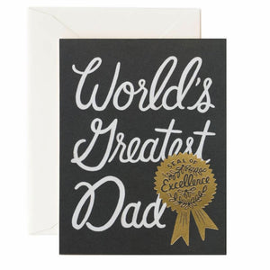 Rifle Paper Co. Greeting Card - Father's Day - World's Greatest Dad - Award Ribbon