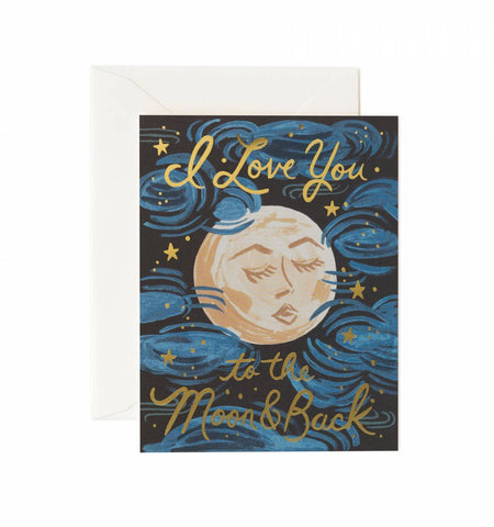 Rifle Paper Co. - Greeting Card - Love - I Love You To The Moon And Back