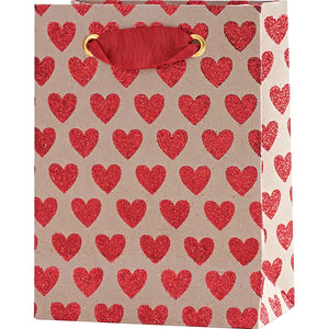 Small Red Glitter Hearts Gift Bag