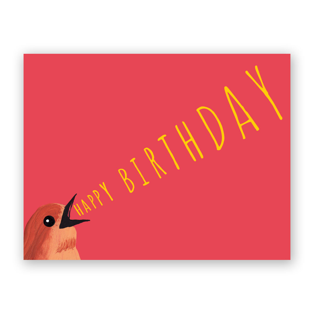 Mincing Mockingbird - Greeting Card - Bird Yelling Birthday