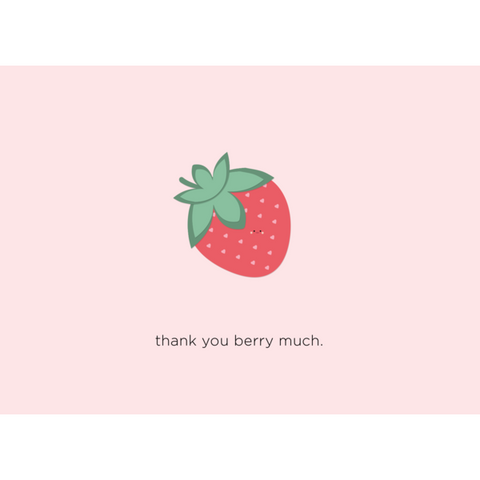 Paper Hearts - Greeting Card - Thank You Berry Much