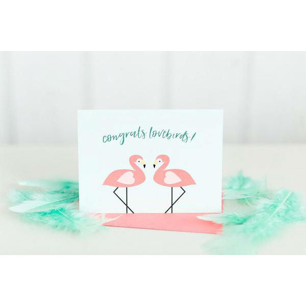 Paper Hearts - Greeting Card - Congrats Lovebirds